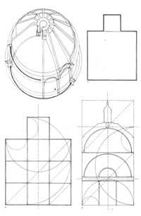 Esquema da cúpula, do tambor e sistema de proporções geométricas