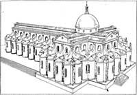 perspectiva do que seria o projeto original de Brunelleschi, segundo sanpaolesi. in NORBERG-SCHULZ. op. cit. p.123